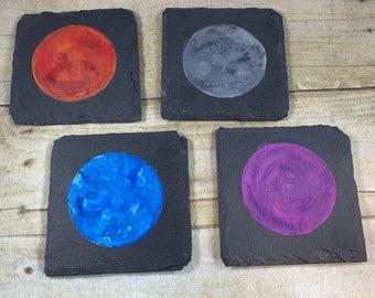 Slate planet coasters, stone coasters, celestial coasters, galaxy coasters, coasters with feet, modern coasters, moon coasters, coaster set