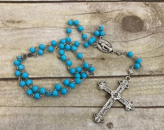 Rubberized blue rosary, handmade rosary, bright blue rosary, unique rosary, confirmation gift, baptism gift, prayer beads
