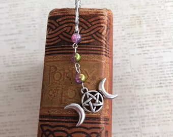 Pink purple and gold triple goddess bookmark, triple moon bookmark, pagan bookmark, wiccan bookmark, occult gift