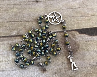 Green sparkle bastet pagan rosary, bast prayer beads, egyptian paganism, pagan prayer beads, wiccan rosary, cat goddess, occult jewelry