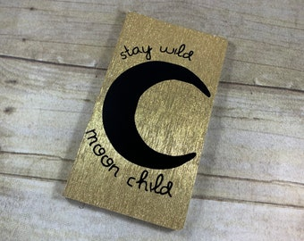 Black and gold shimmer stay wild moon child journal, lunar journal, book of shadows, pagan journal, wiccan journal, witch journal,