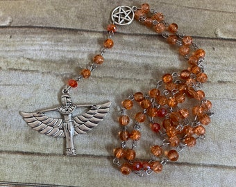 Orange crackle glass isis rosary, isis prayer beads, pagan rosary, wiccan prayer beads, occult rosary, goddess prayer beads, Egyptian pagan