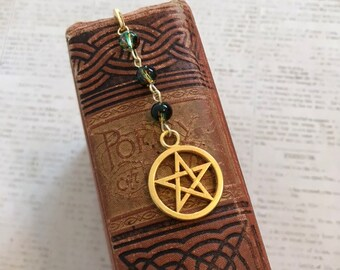 Green brown and orange pentacle bookmark, camo pentacle, pagan bookmark, wiccan bookmark, occult bookmark