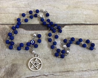 Blue pentacle and nazar lava rock pagan rosary, diffuser pagan prayer beads, wiccan prayer beads, occult jewelry, essential oil jewelry
