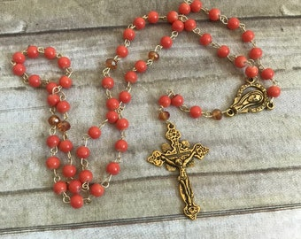 Bright orange and gold catholic rosary, religious jewelry, baptism gift, first communiom gift, glass rosary, unique rosary