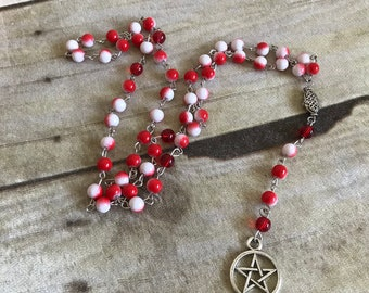 Red and white pentacle rosary, pagan prayer beads, occult jewelry, pagan necklace, pentacle necklace, wiccan rosary, wiccan jewelry