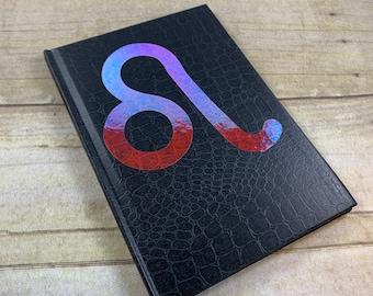 Black and pink iridescent Leo journal, leo gift. Zodiac journal, astrology journal, esoteric journal, pagan journal, book of shadows