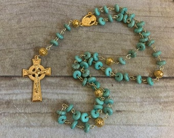 Blue green howlite rosary, stone rosary, baptism gift, first communion gift, confirmation gift, unique rosary