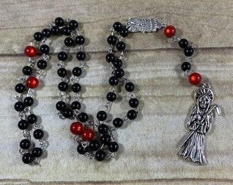 Black and red Santa Muerte rosary, santisima muerte rosary, nuestra senora de la Santa Muerte, holy death rosary, sacred death rosary
