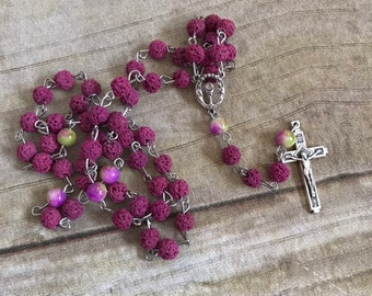 Deep pink lava rock catholic rosary, oil diffuser rosary, essential oil rosary, handmade rosary, baptism gift,