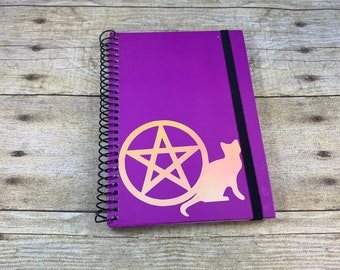 Purple iridescent pentacle cat journal, witch journal, witchy journal, pagan journal, wiccan journal, occult journal, book of shadows