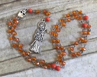 Orange sparkle Santa Muerte rosary, santisima muerte rosary, nuestra senora de la santa muerte, holy death rosary, sacred death rosary