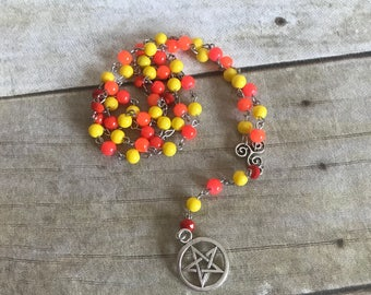 Orange, yellow, and red pagan rosary, wiccan jewelry, pentacle necklace, occult gift