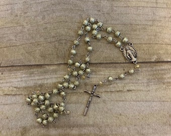 Spring green acrylic stardust rosary, catholic rosary, baptism gift, unique rosary, metallic rosary, first communion gift, confirmation gift