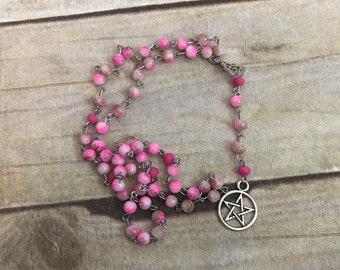 Pink and brown pentacle rosary, pentacle jewelry, pagan rosary, pagan prayer beads, wiccan rosary, occult necklace, wiccan jewelry