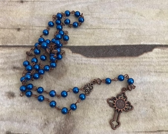 Blue glass faux pearl catholic rosary, catholic prayer beads, religious jewelry, handmade rosary, blue and copper rosary