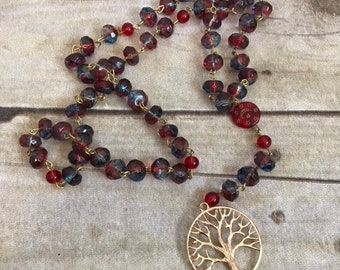 Red blue and gold pagan tree of life rosary, pagan prayer beads, wiccan prayer beads, wiccan jewelry, tree of life jewelry, wiccan rosary