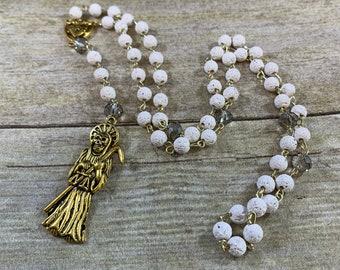 White and gold lava rock Santa muerte rosary, santisima muerte, nuestra senora de la Santa Muerte, holy death rosary, sacred death rosary