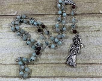 Sesame seed jasper and garnet Santa muerte rosary, santisima muerte rosary, nuestra senora de la Santa Muerte, holy death, sacred death