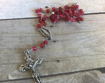 Red scale crackle bead rosary, handmade rosary, unique rosary, religious gift, religious jewelry, prayer beads, baptism gift, catholic