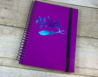 Purple and blue galaxy witch journal, space witch journal, pagan journal, wiccan journal, occult journal, book of shadows, witchcraft
