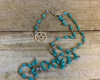Blue pentacle hamsa rosary, light blue pagan rosary, pagan prayer beads, wiccan rosary, wiccan prayer beads, witch rosary, witch prayer bead