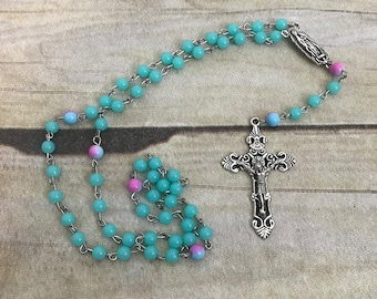 Blue and pink catholic rosary, prayer beads, religious jewelry, catholic jewelry, confirmation gift, baptism gift, handmade rosary