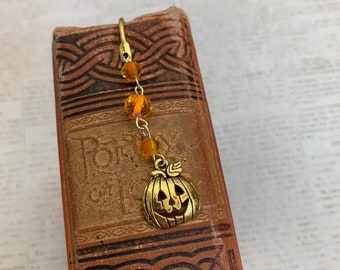 Gold and orange jack o lantern, halloween bookmark, pumpkin bookmark, Halloween gift, fall bookmark, autumn bookmark, pumpkin gift