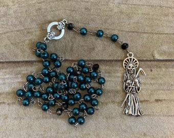 Dark blue green santa muerte rosary, santisima muerte rosary, nuestra senora de la santa muerte, holy death rosary, sacred death rosary