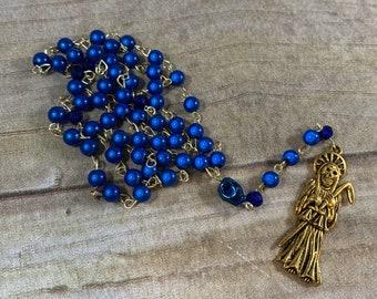 Mirrored blue and gold Santa muerte rosary, nuestra senora de la Santa Muerte, holy death rosary, sacred death rosary, santisima muerte