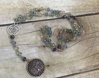 Blue, green, yellow and purple tree of life rosary, tree of life jewelry, pagan rosary, pagan prayer beads, wiccan rosary, wiccan jewelry