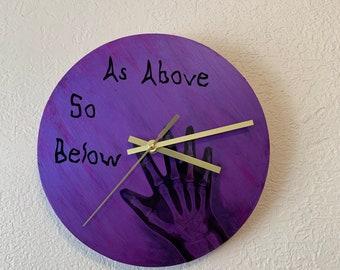 As above so below clock, goth clock, gothic clock, X-ray clock, pagan clock, skeleton clock, occult clock, wiccan clock, horror clock