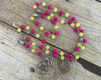 Neon pink and yellow pagan rosary, pentacle jewelry, wiccan necklace, occult gift
