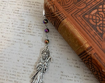 Dark rainbow Santa Muerte bookmark, Santisima Muerte bookmark, holy death bookmark, nuestra senora de la Santa Muerte, sacred death bookmark