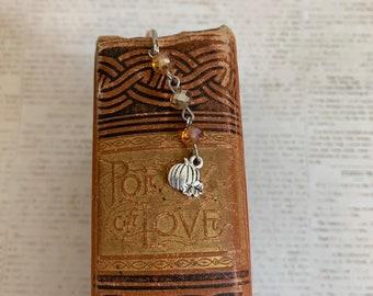 Orange sparkle pumpkin bookmark, halloween bookmark, fall bookmark, autumn bookmark, harvest bookmark, seasonal bookmark, pumpkin gift