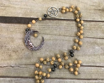 Yellow and black pagan moon rosary, lunar prayer beads, man in the moon, occult prayer beads, wiccan rosary, celestial rosary