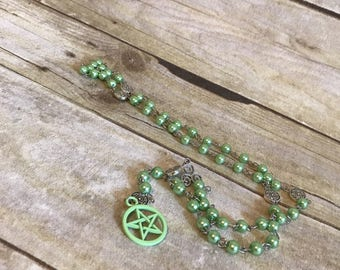 Mint green pentacle pagan rosary, handmade wiccan jewelry, unique witch gift