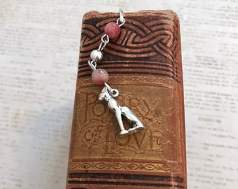 Red and black mountain jade bastet bookmark, bast bookmark, pagan bookmark, wiccan bookmark, occult bookmark