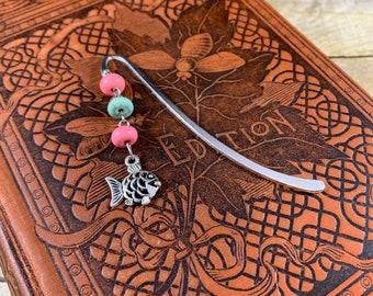Pink and mint howlite fish bookmark, fishing bookmark, aquarium bookmark, ocean bookmark, sea bookmark, animal bookmark