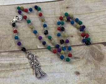 Rainbow lava rock Santa muerte rosary, santisima muerte, nuestra senora de la Santa Muerte, holy death rosary, sacred death rosary