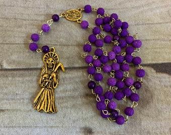 Purple and gold lava rock Santa muerte rosary, santisima muerte rosary, nuestra senora de la Santa Muerte, holy death rosary, saintly death