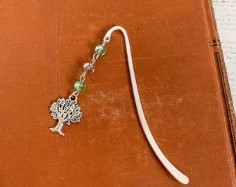 Green and tan tree bookmark, arbor bookmark, orchard bookmark, nature bookmark, plant bookmark, forest bookmark, tree gift