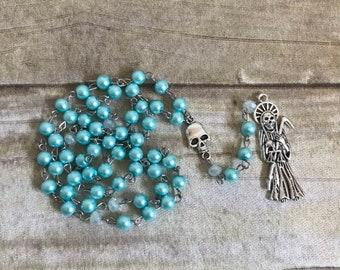 Light blue glass faux pearl Santa Muerte rosary, Nuestra Señora de la Santa Muerte, santisima muerte, holy death rosary, sacred death rosary