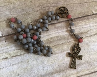 Grey and red brass ankh rosary, ankh prayer beads, pagan rosary, occult prayer beads, egyptian paganism, wiccan prayer beads