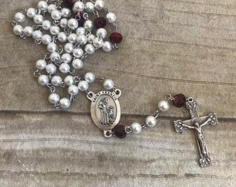 White red and black saint francis rosary, italian silver rosary, glass faux pearl rosary, catholic rosary, baptism gift, confirmation gift