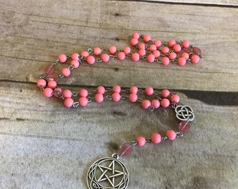 Pink celtic knot pagan rosary, pentacle necklace, pentacle jewelry, wiccan necklace, pagan prayer beads, wiccan rosary