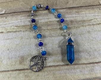 Dyed blue agate pendulum, occult pendulum, crystal pendulum, stone pendulum, wiccan pendulum, witch pendulum, pagan pendulum
