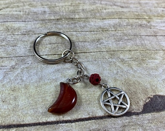 Red jasper pentacle moon keychain, crystal keychain, pagan keychain, wiccan keychain, occult keychain, essential oil diffuser keychain