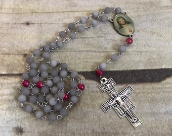 Grey frosted mountain jade catholic rosary, grey and red rosary, handmade rosary, catholic rosary, religious jewelry, baptusm gift