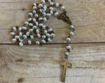 White and grey brass rosary, glass pearl rosary, catholic rosary, handmade rosary, unique rosady, baptism gift, confirmation gift